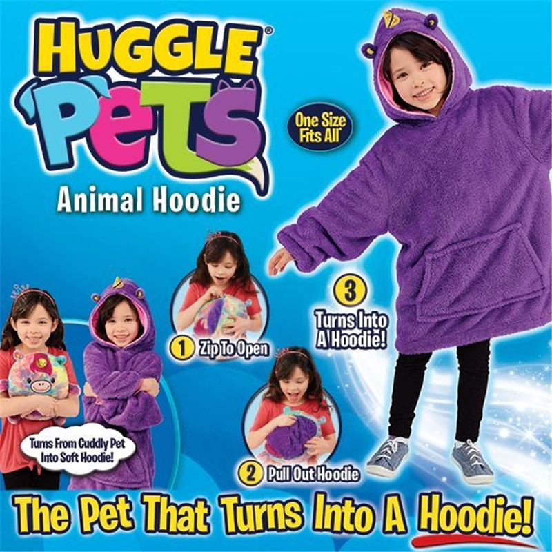 Dropship Hoge Kwaliteit Huggle Hooded Sweatshirt Hoodie Warm Huisdieren Winterjassen Badjas Fleece Trui Kinderen Kerstcadeau