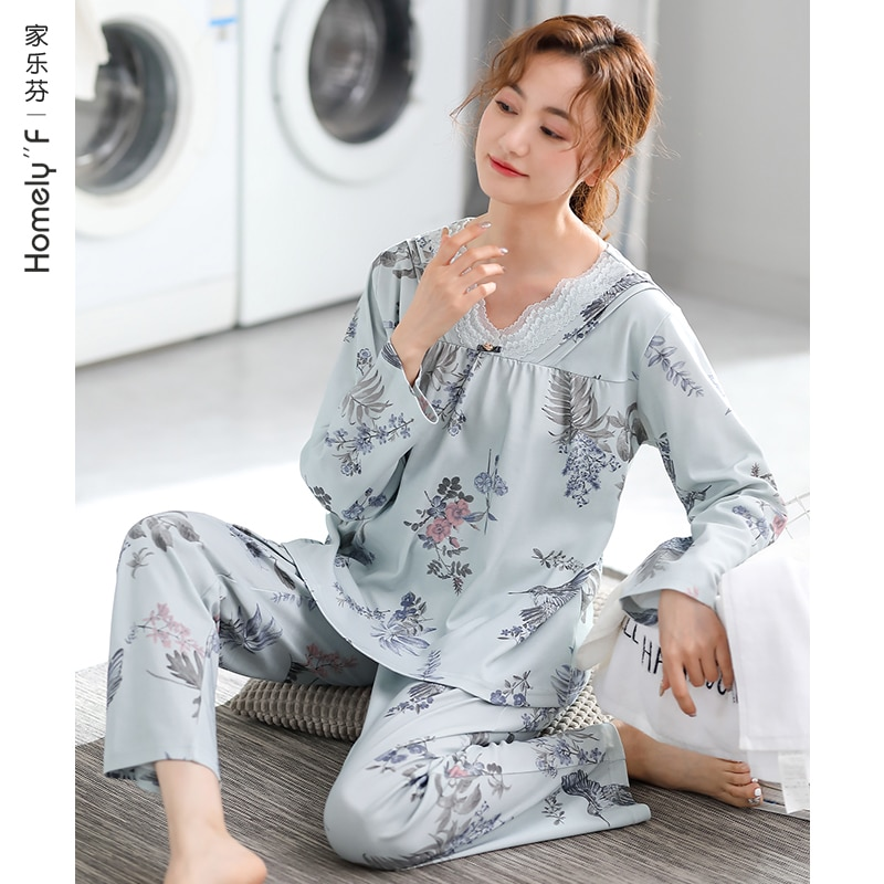 Jialefen Pajamas Women's Spring and Autumn Fall Pure Cotton Long Sleeve Homewear Full Cotton Thin Se