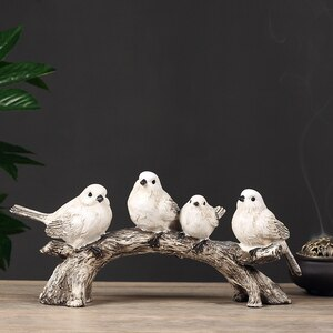 Resin Birds on Branch Decorative Statue Collectible Figurine