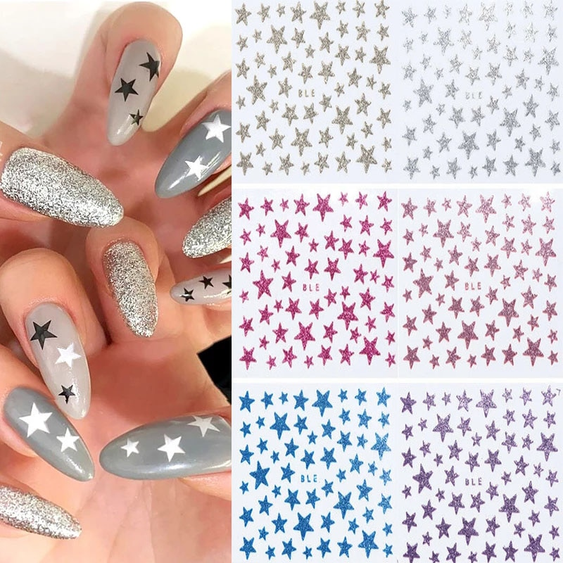 3D Nail Stickers Frosted Stars Glitter Shiny Decoration Decal For Manicure Nail Sliders DIY Transfer Adhesive Colorful Nail Arts