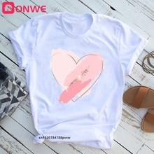 Camiseta con estampado de corazón de los 90 para mujer, ropa blanca Harajuku para chica, camiseta estampada para mujer, envío directo