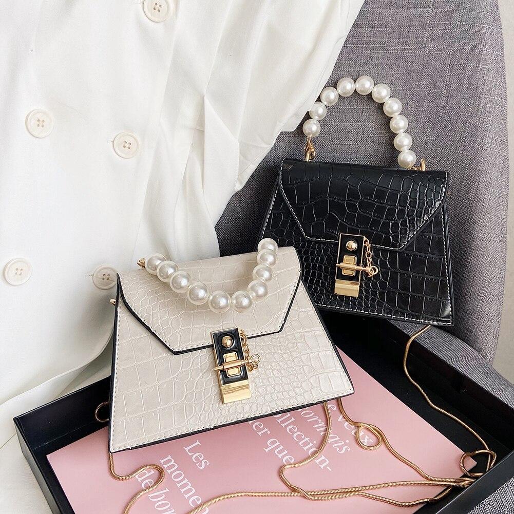 Fashion Pearl Handle Super Mini Design PU Leather Shoulder Bags for Women 2021 Crossbody Bag Travel Handbags Alligator Pattern