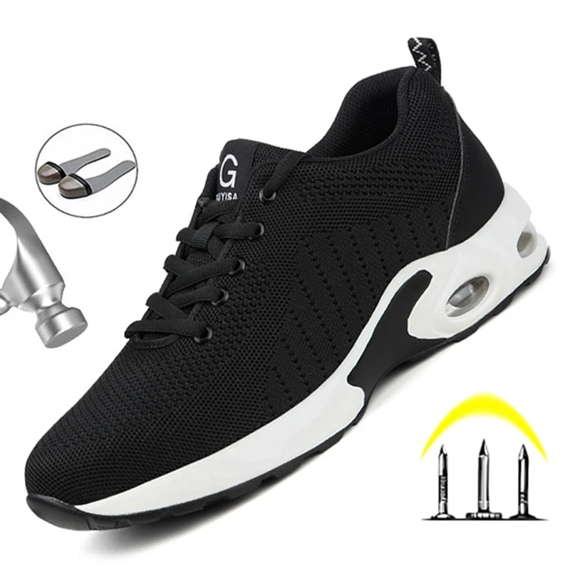 Security Work Sneakers Male Safety Shoes Men Lightweight Work Boots Men Steel Toe Shoes Work Safety Boots Male Industrial Shoes