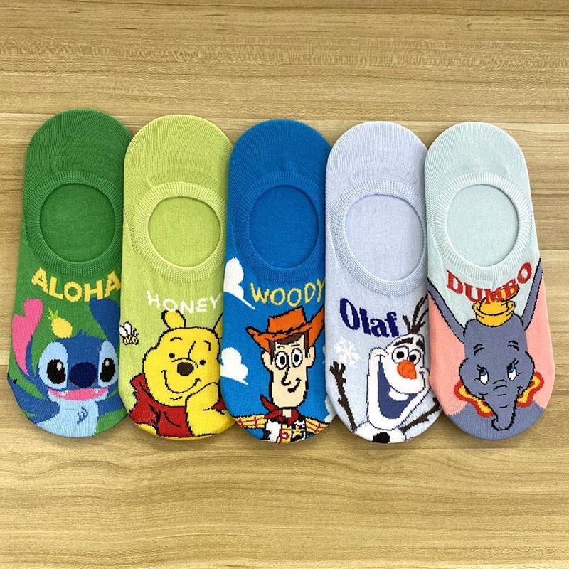 Calcetines de algodón de verano para niña de Disney, bonitos calcetines de dibujos animados de MIckey Mouse Frozen 2 para mujer, calcetines cortos suaves transpirables e invisibles