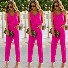 2020 Summer Women Holiday Casual Sleeveless Jumpsuits Fashion Ladies  Solid Color Bodysuit Wide Leg