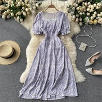 women french sweet floral dress 2021 summer square puff sleeve slim midi dresses beach sundress gown female clothing 2021 atopos