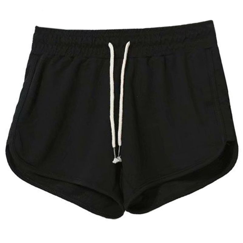 X7XE Women Summer Casual Workout Yoga Shorts Dolphin Curved Hem Drawstring Waist Fitness Booty Hot Pants Solid Color Running