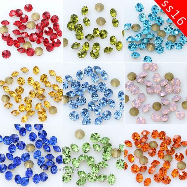 144 P Ss16 4 Mm Ronde Kleur Puntige Foiled Terug Tsjechische Crystal Rhinestones Juwelen Facet Glas Steen Chatons Nail Art kralen Craft