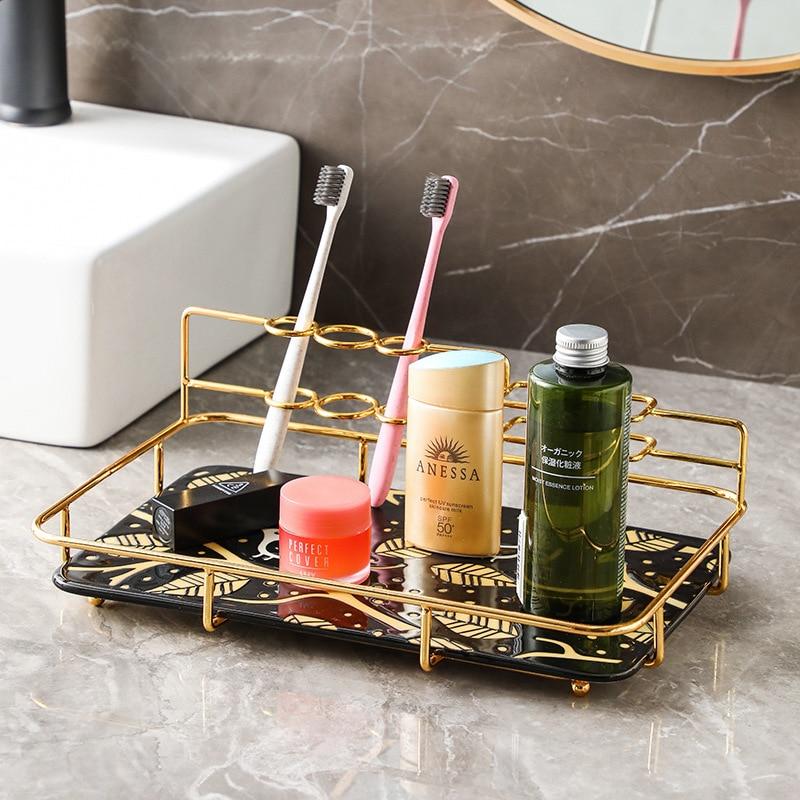الحمام كونترتوب الفاخرة تخزين رفوف الحمام مستحضرات التجميل اليد غسل الوجه على الانترنت المشاهير علبة واحدة الرف