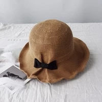 new bow knot cotton and linen sun hat in summer new fisherman hat in korean edition foldable hat girl with elegant quality