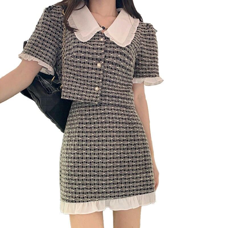 موضة خمر المرأة قطعتين تنورة مجموعات قصيرة الأكمام واحد الثدي قميص قصير الأعلى و عالية الخصر تنورة صغيرة 2 قطعة ملابس وتتسابق