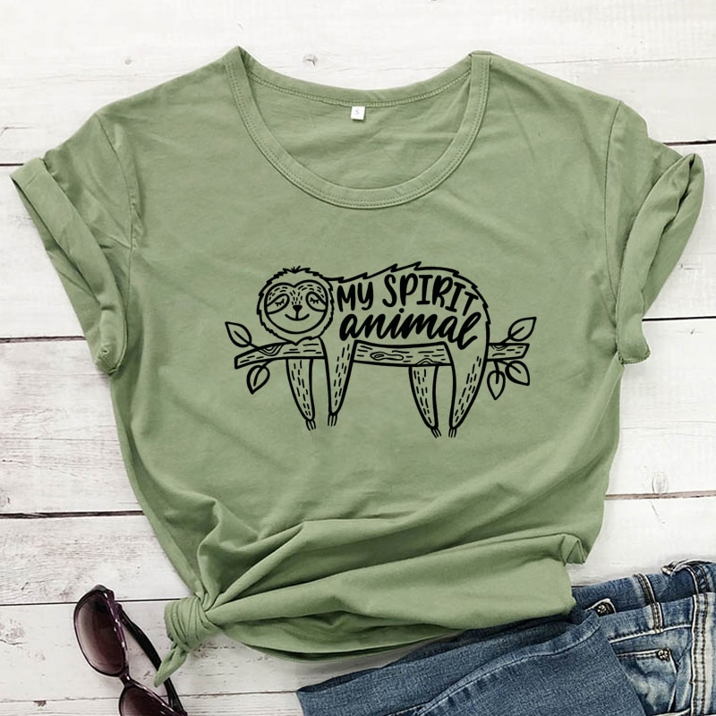 Camiseta Unisex divertida con diseño de Animal de My Spirit, camisetas de manga corta Hipster con perezoso, camisetas con eslogan gráfico bonito para mujer, Camiseta de algodón, ropa de calle