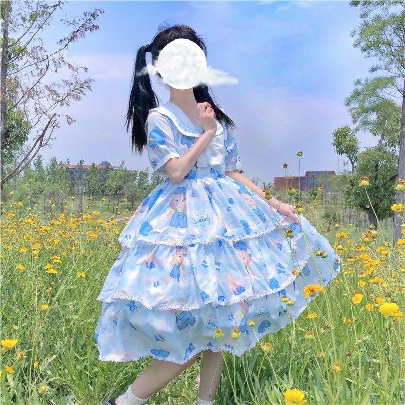 Design lolita amor travesseiro coelho hai jun ling op vestido de manga curta renascentista vestido vitoriano lolita goth lolita