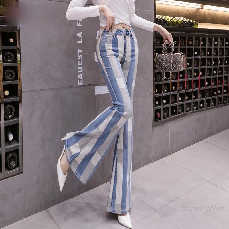 Женские узкие джинсы контрастных цветов на заказ, новинка 2021, джинсовые брюки, облегающие брюки-клеш, Nancylim