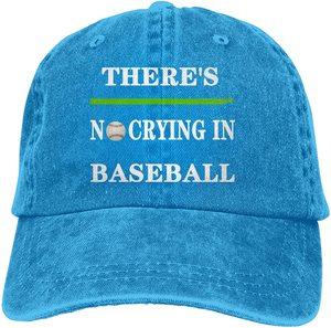 There's No Crying in Baseball Sports Denim Cap Adjustable Unisex Plain Baseball Cowboy Snapback Hat