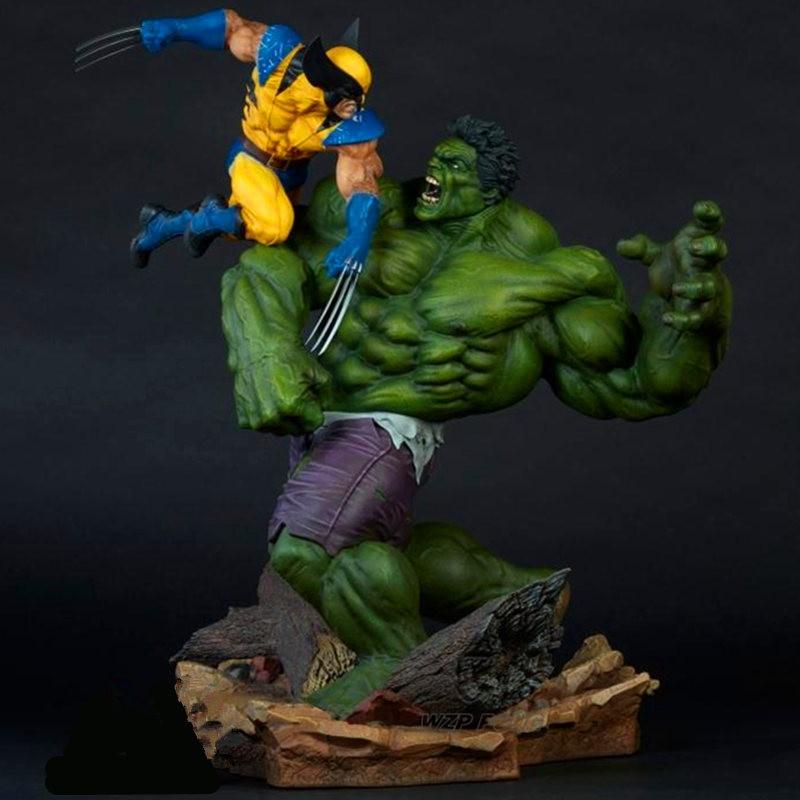 Figura de acción de 36CM de Anime Avengers Wolverine VS Hulk figura de batalla estatua decoración de escritorio de PVC juguetes de modelos de colección