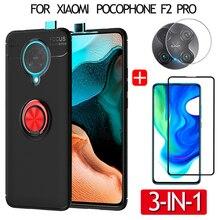 3-in-1 futerał silikonowy do Poco F2 Pro etui z palcem pierścień magnetyczny pokrywy telefon + Pocophone f2 Pro szkła + kamera, etui na poco-f2 etui poco f2 pro case