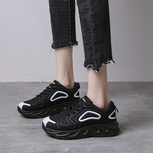 5Cm Platform Sneakers Women Vulcanize Shoes Chunky Sneakers Non Slip Wear Resistant Trainers Ladies Black 2020 Dad Shoes 36-42