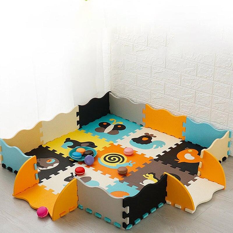 Пенопластовый коврик с забором, 25 шт., Детские пазлы, напольные коврики для ползания, коврики, детские развивающие игрушки, коврик для тренир...