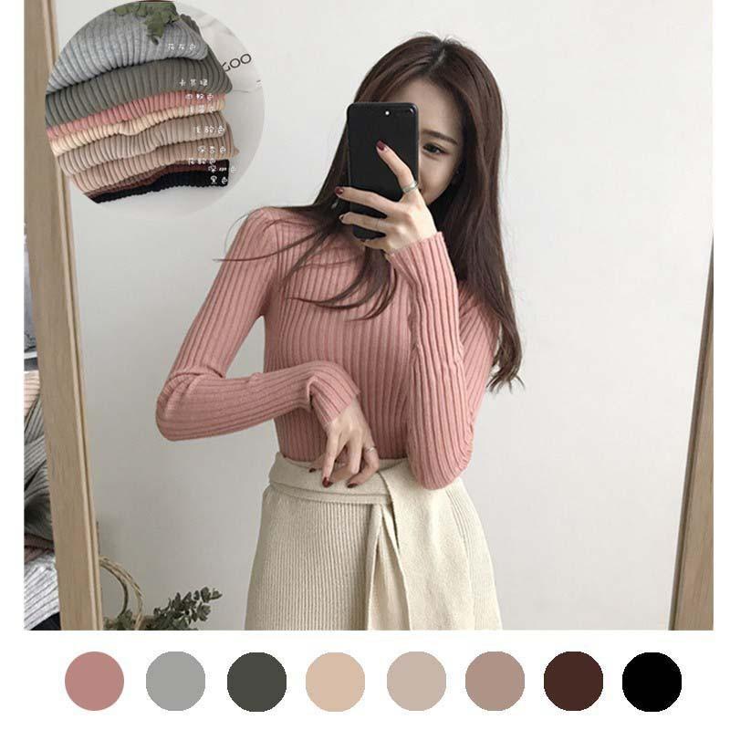 2020 otoño invierno nuevo suéter coreano de cuello de las mujeres todo-fósforo camisetas de manga larga delgado de un cuello femenino de hilo apretado Jersey MM