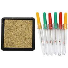 6 Pcs Green Yellow Red Plastic Handle Sewing Needle Thread Unpicker Seam Ripper & 1x Ink Pad Stamp Pad Gold