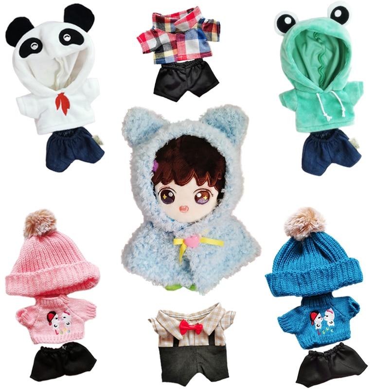 20cm Baby Doll Outfit Plush Doll's Clothes Lovely Hoodie Stuffed Toy Dolls Accessories for Korea Kpo