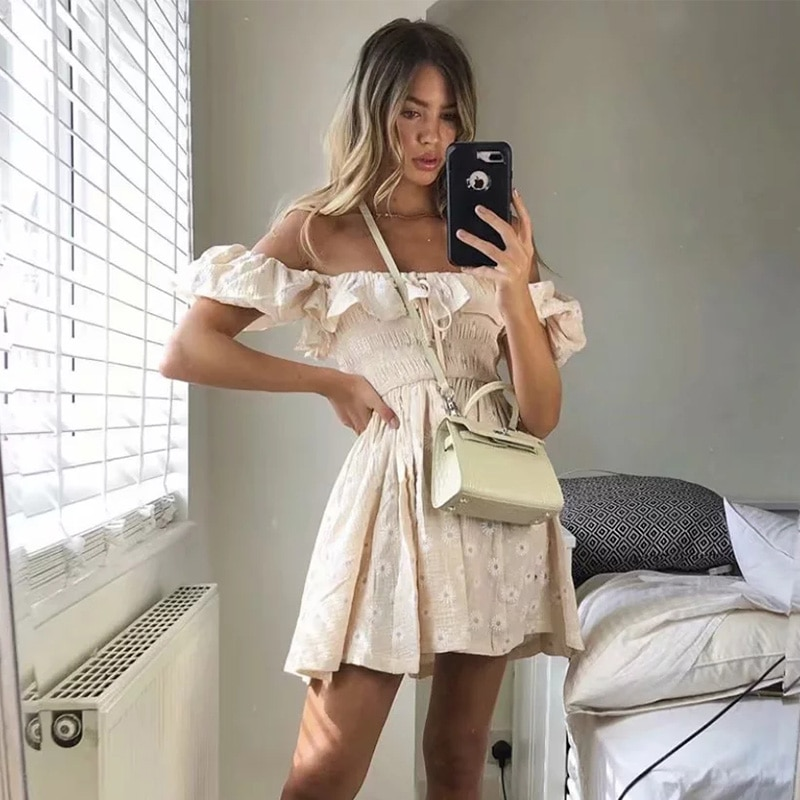 Plissado túnica plissado vestido feminino verão embrodery vestido vintage praia puff manga vestido daisy flor impressão boho vestido