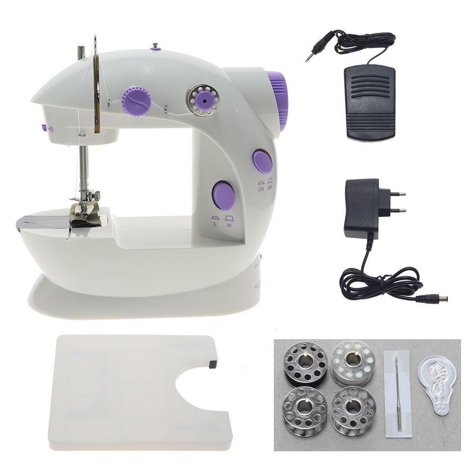 Mini máquina de coser eléctrica manual portátil mini aguja de coser 110 / 220V conjunto de agujas de coser de velocidad