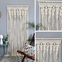 pure cotton hand woven tassel curtain bohemian fringed door curtain wedding background wall hanging tapestry home decoration