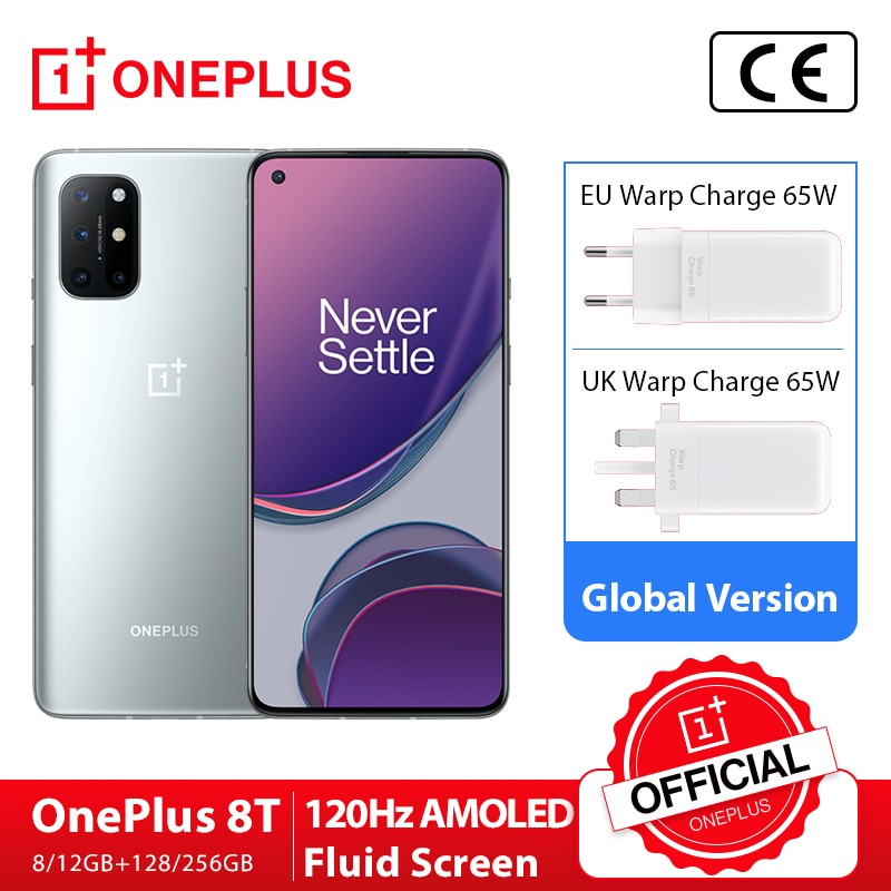 Global Version OnePlus 8T 8 T 8GB 128GB OnePlus Official Store Snapdragon 865 5G Smartphone 120Hz AMOLED Fluid Screen 48MP 65W