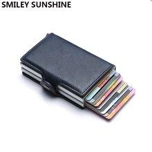 Qualidade superior rfid carteira dos homens saco de dinheiro mini bolsa masculina de alumínio cartão carteira pequena embreagem carteira de couro fino carteras 2020