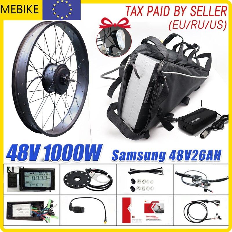 Kit de conversión de bicicleta eléctrica, batería triangular trasera, neumático ancho de...
