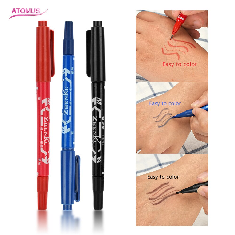 Suministros para tatuajes, 3 unidades, marcador para tatuaje, marcador para piel, herramienta para garabatos, punta fina de tinta permanente