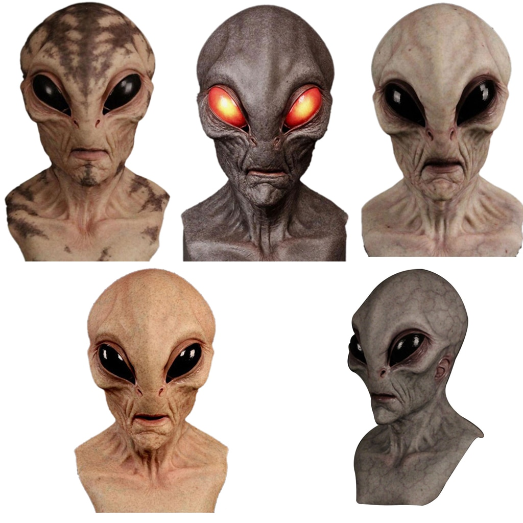 Halloween Horror Alien Mask Cosplay Scary Full Face UFO Latex Masks Helmet Masquerade Party Costume Props Funny Toys