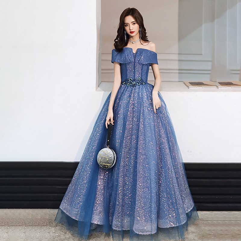 Evenging Dresses Blue Beading Women Boat Neck Sequins Simple New A-line Floor-length Plus size Lacu