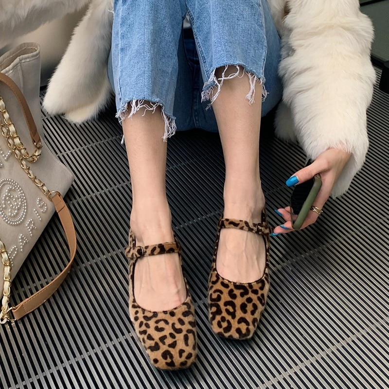Designer Brand Luxury Mary Jane Shoes For Women 2020 Spring Retro Square Toe Leopard Print Pumps Block Low Heels Horsehair Shoe