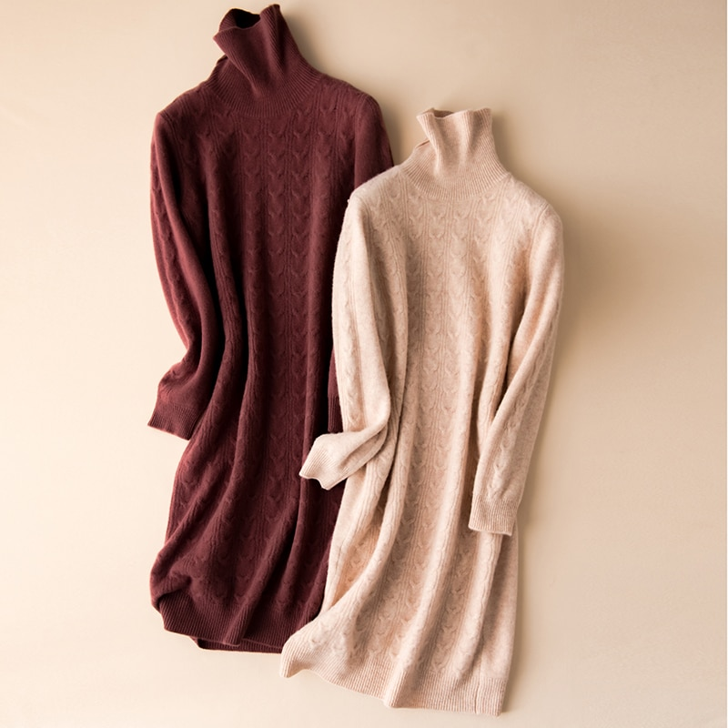winter thick long women sweater dress turtleneck wool pullover full sleeves casual warm female warm sweaters enlarge