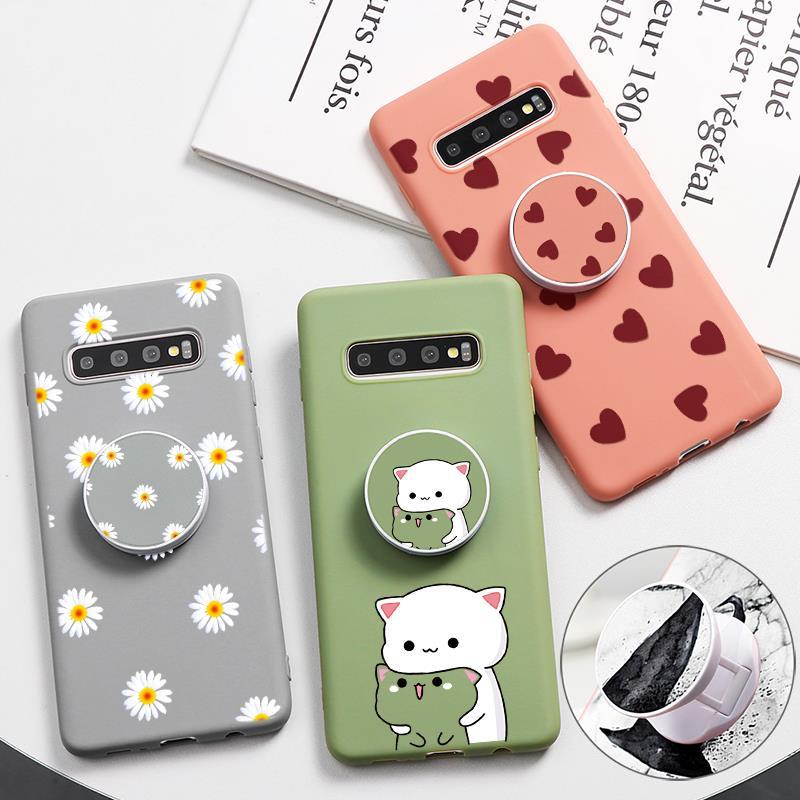 Folding Stand Case Para Samsung Galaxy A50 A70 S10 S9 S8 Plus A71 A30 Lite S11e S11 A51 A7 A9 J6 A8 Além de 2018 Dos Desenhos Animados Da Forma TPU