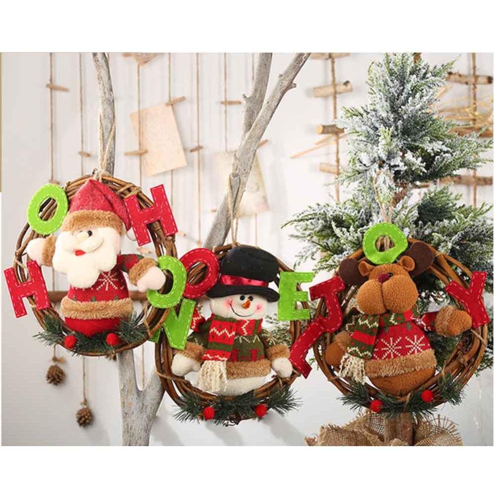 Navidad muñeca colgantes decoración colgante corona de juguete adornos puerta de pared guirnalda de ratán muñeco de nieve Santa fiesta decoración del hogar