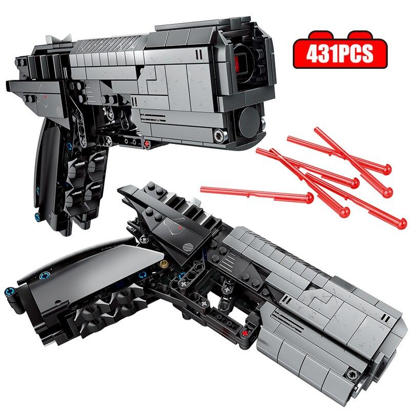 431 piezas de construcción de pistola de policía de ciudad, bloques de construcción, pistola de señal técnica militar, conjunto de ladrillos, juegos de juguetes para niños