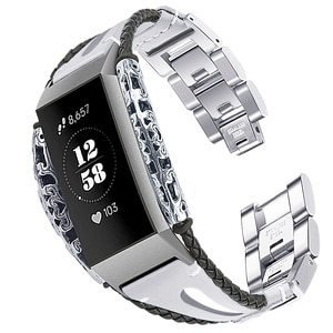 Bracelet for Fitbit Charge 3 Band Replacement Band Stainless Steel And Leather Strap For Fitbit Charge 3 Correa Fitbit 62010