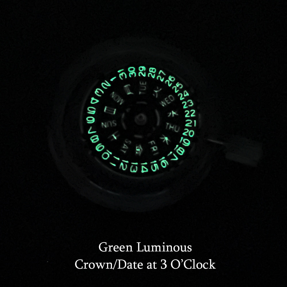 Seiko Mechanical Watch Movement Standard Automatic Watch Mechanism Replacements NH36 Blue/Green Luminous Day/Date Crown At 3:00 enlarge