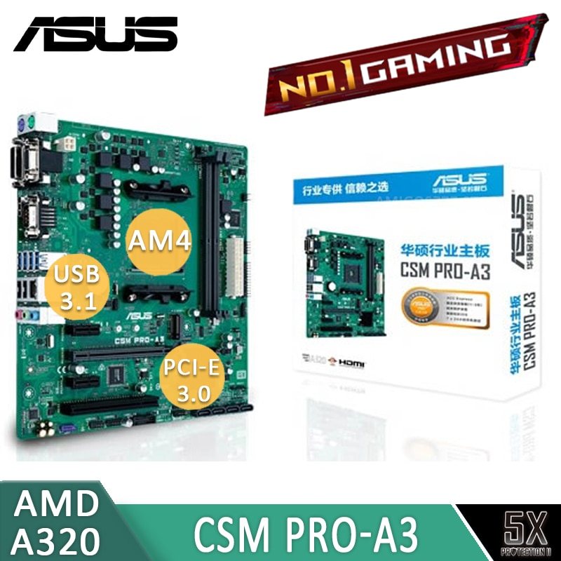 AM4 Asus CSM PRO-A3 Motherboard ACC Express M.2 32Gb/s 3200MHz DDR4 Office 7th-Gen A series APU and Athlon APU A320 Placa-Mãe
