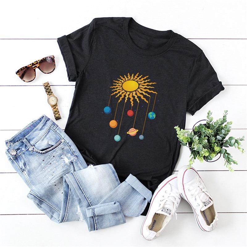 Mais tamanho S-5XL 100% camiseta de algodão sun planet print t camisa feminina tshirt o pescoço manga curta camisetas de verão camisas femininas rosa topos