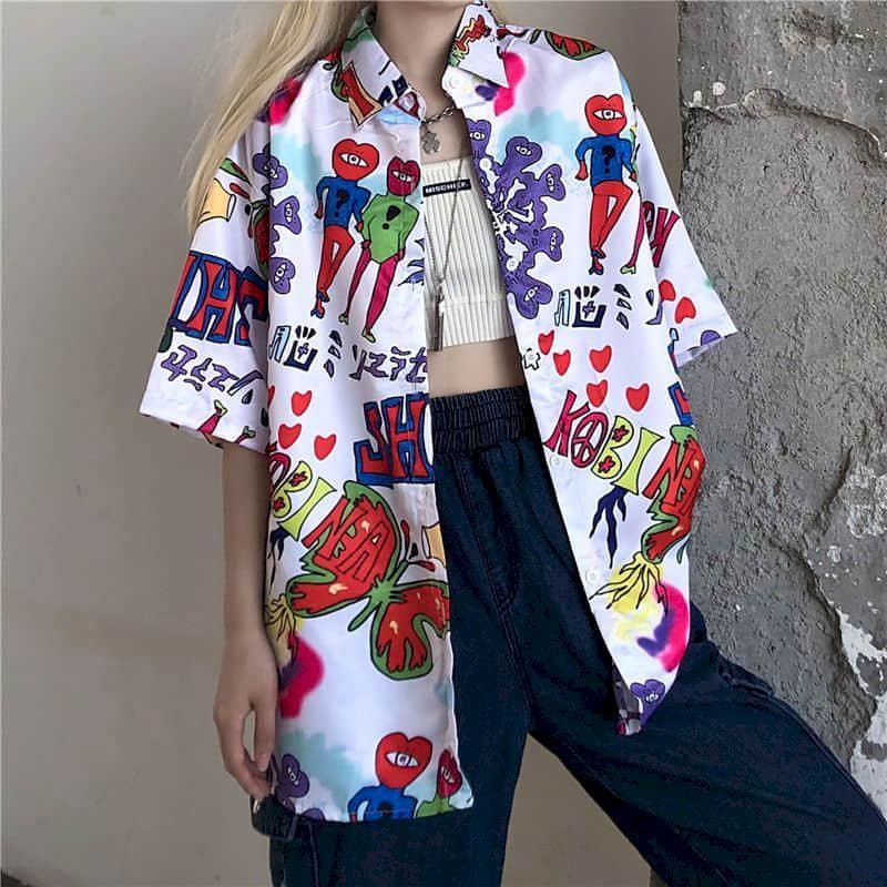 2021 Summer Short Sleeve Shirt Korean Hong Kong Style Student Loose Korean Fashion Clothing Blouse Women Harajuku Plus Size Top