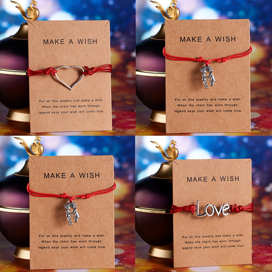 Make a wish Sweet Girls Boys Couple Bracelets Palm Owl Foot Bee LOVE heart lucky weave Red Rope adjustable bracelet Wish Jewelry