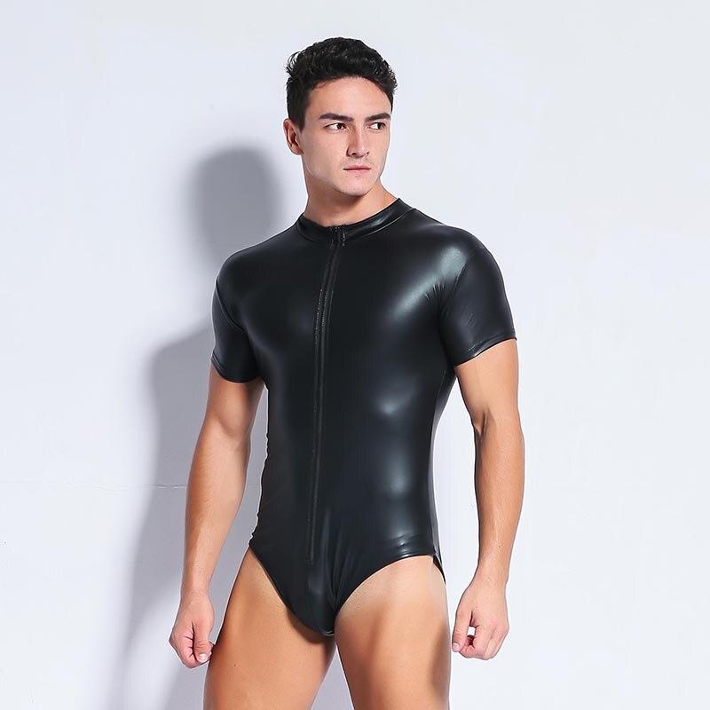 Plus Size S-3XL Black Sexy Men's Leather Bodysuit PU Latex Catsuit Men Sexy Lingerie Patent Leather One-piece Leotard Gay Wear