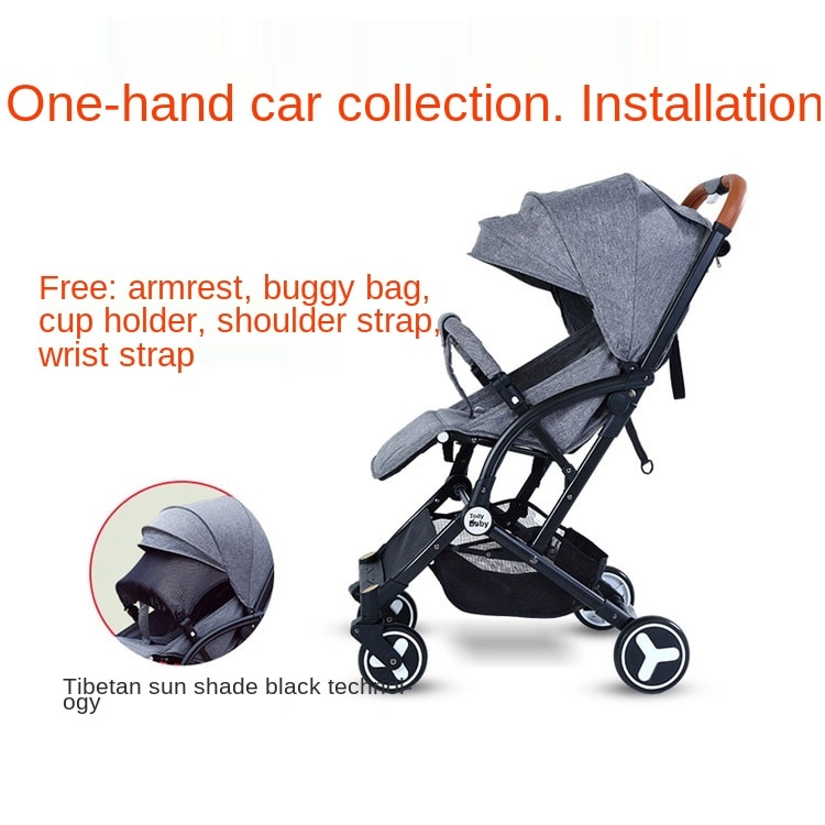 Multifunction portable Folding Can Sit And Lie Children's Four wheel trolley Baby Stroller Bicycle Reclining Shading Seat 2021 enlarge