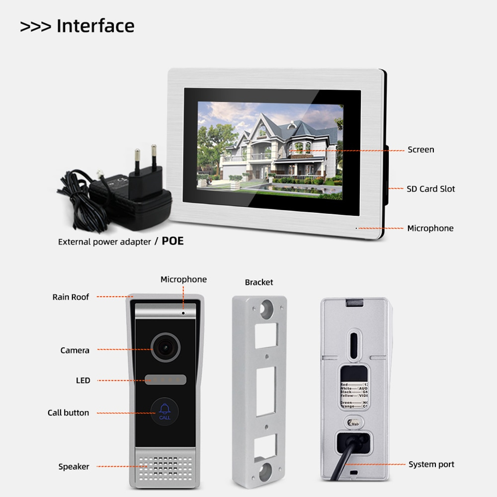 Jeatone Tuya App Home Intercom System Wireless WiFi Smart IP Video Intercom Full Touch AHD Monitor with Wired Door Phone Camera enlarge