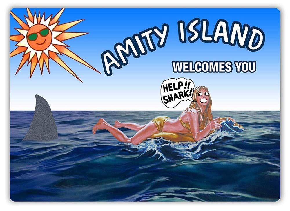 Amity Island-cartel de Horror, pared de Metal, letrero de advertencia, letreros colgantes,...